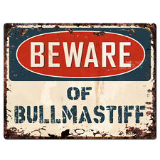 Ppdg0094 Beware of Bullmastiff Plate Rustic Tin Chic Sign Decor Gift