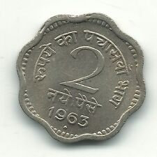 VERY NICE HIGH GRADE UNC 1963 B INDIA 2 PAISE-FEB508