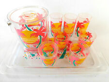 Vintage Palm Trees Tropical Serving Tray And Ice Bucket PLUS 7 Cups Pool Patio