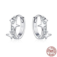 Small Hoop Earrings 925 Sterling Silver Clear CZ Universe Pandora Galaxy Tiny
