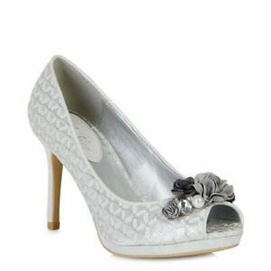 Ruby Shoo Sonia Peeptoe Shoe Silver Various Sizes NIB