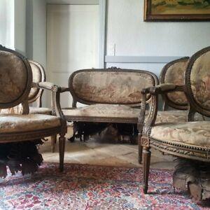 French Sofa Set, Antique Giltwood Louis XVI Salon Suite