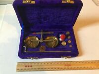 SOLID BRASS WEIGHING SCALE WITH WOOD BOX