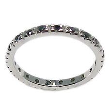 Anello fedina girodito eternity in oro bianco 18 kt . diamanti neri 0,30 ct.