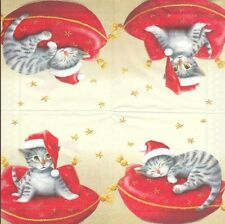 2 Serviettes en papier Animal Chat de Noël - Paper Napkins Santa Cat