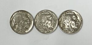 1935 P 1936 P 1937 P Buffalo Nickel About Uncirculated UNC (3 COINS) Lot of 3
