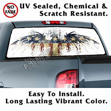 Aged American Eagle Flag Back Window Graphic Perforated Window Film Decal