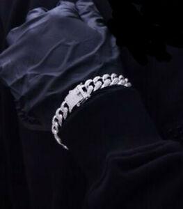 "7.42ct Natural Round Diamond 14K White Gold Cuban Curb Link Bracelet For man""S"