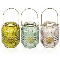 3 x Glass Tea Light Candle Lantern Holders Round Table Wedding Centrepiece Decor