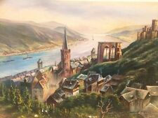 Klaus Kodeda -  Castles and palaces on the Rhine river mid-century oil on canvas