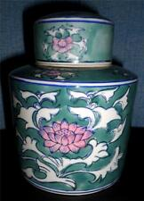 Beautiful Lotus Chinese Ginger Jar Signed Turquoise Blue Trim Pink Lotus Purity