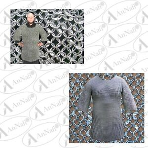 Round Riveted Chainmail Shirt Aluminium Chain Mail Armor Large Size Full Sleeves