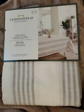 """THRESHOLD GRAY STRIPE OBLONG TABLECLOTH ~ 60"""" x 120""""  classic look simply great"""