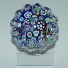 John Deacons Scotland Millefiori End of Day Daisy Large paperweight BLUE PURPLE