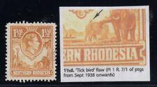 "Northern Rhodesia, SG 30b, used ""Tick Bird Flaw"" variety"