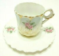 ANTIQUE 1800s VICTORIAN DEMITASSE CUP & SAUCER ROSE PATTERN BONE CHINA EUROPEAN