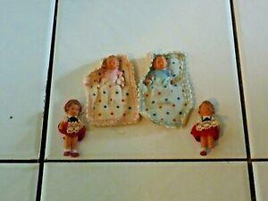 Vintage Lot of German Rubber Miniature Doll House Dolls - Babies, Children