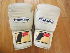 Fighting White Leather Training Gloves 14oz