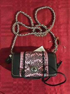 Coach 86819 Dinky Abratan Leather With Whip Stitch Snake New