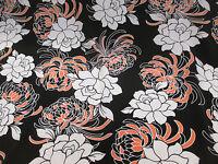 Black, White/Orange Floral Crepe De Chine Printed Dress Fabric. Price Per Metre!