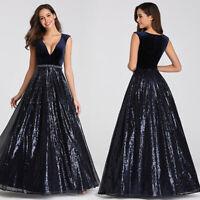 Ever-Pretty Long V-neck Sequins Velvet Evening Gown Cocktail Party Dresses 07840