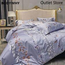 Luxury Silkly Egyptian Cotton Bedding Linens Printed Sheet Pillowcase Duvet Cove
