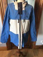 Jack Wills Packable Lightweight Waterproof Jacket Medium Blue and Grey
