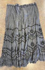 Soft Surroundings Women's Black Gray Floral design beaded BOHO skirt size XL