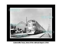 OLD POSTCARD SIZE PHOTO OF GAINESVILLE TEXAS THE RAILROAD DEPOT STATION c1950