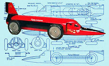 Model Land Speed Racer Plan JETEX MODEL FLYING CADUCEUS RACE CAR Printed Plans