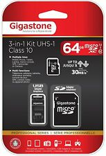 Gigastone 3-in-1 Mobile Kit 64GB microSDXC Class10 UHS-1 Card (GS-3IN1X1064G-R)