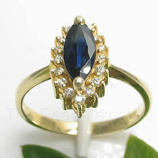 14k Yellow Solid Gold Genuine Diamond & Blue Marquise Sapphire Cocktail Ring TPJ