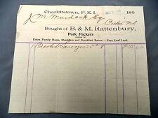 Letterhead Advertising B&M Rattenbury Charlottetown Dec 16 1898 PEI Pork Packers