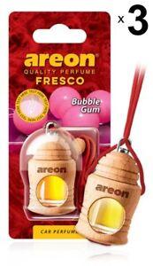 3 x Areon Fresco Bubble Gum Car Aroma Perfume Tree Air Freshener HOME OFFICE