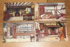 Vintage Postcard: Set of 4, Anne Hathaway's Cottage Rooms, Stratford Upon Avon