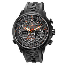 Citizen Men's Eco-Drive Navihawk Chronograph All Black Rubber Watch JY8035-04E