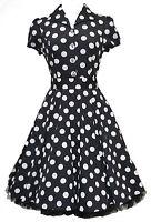 Ladies 40's 50's Vintage Style Black Big Polka Dot Classic Shirt Dress New 8-26