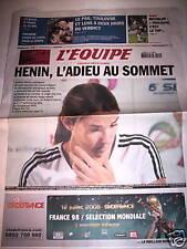 L' EQUIPE 15 MAI 2008 RETRAITE MONDIALE JUSTINE HENIN