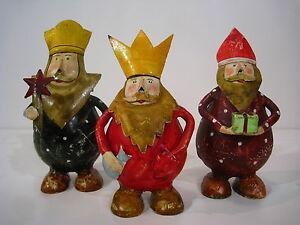 Die heiligen drei Könige Metall Figuren Caspar Melchior Balthasar handbemalt 3