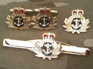 Royal Navy Cufflinks, Badge, Tie Clip Military Gift Set