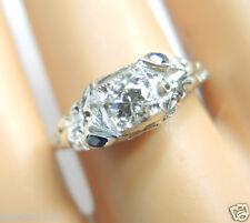 Antique Diamond Engagement Ring 18K White Gold Ring Size 6.5 UK-M1/2 EGL USA