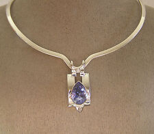 "made with SWAROVSKI ""TANZANITE"" CRYSTAL ELEMENT PENDANT and SCOOP  V  NECKLACE"