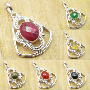 SIMULATED RUBY & Other Gemstone MODERNISTIC PENDANT Jewelry ! 925 Silver Plated