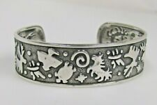 Jody Naranjo Sterling Silver Textured & Polished Symbols Cuff  Small