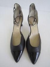 AGL Claire Ankle Strap Pumps Classic Leather Black Cap Toe Shoes Sz 36 Us 6