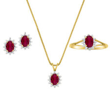 July Birthstone Set - Ring, Earrings & Necklace Ruby in Yellow Gold Plated Silv