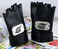 Hot Anime Naruto Kakashi konoha half finger leather glove winter cosplay gifts