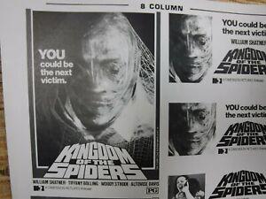 KINGDOM OF THE SPIDERS Movie Mini Ad Sheet VTG Advertising Poster Horror Shatner