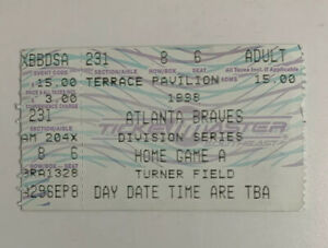 Atlanta Braves v Chicago Cubs 1998 Ticket Stub Playoff Game 1 9/30/98