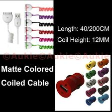 ONE Long Coiled 2M Matte Coloured Cable + Car Charger for iPhone 3/4/4S
